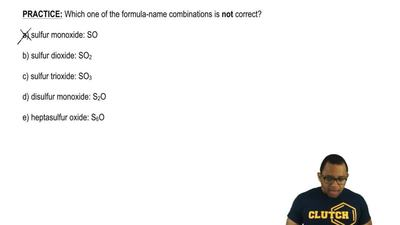 Which one of the formula-name combinations is not correct?  a) sulfur monoxide...