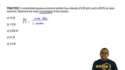 A concentrated aqueous ammonia solution has a density of 0.90 g/mL and is 28.0...