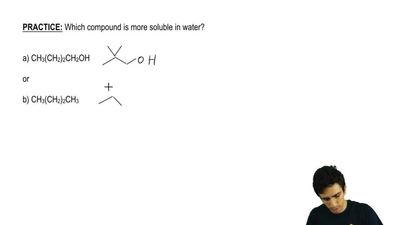 Which compound is more soluble in water?  a) CH3(CH2)2CH2OH  or  b) CH3(CH2)2C...