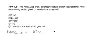 Some Pb(NO3)2 (aq) and KI (aq) are combined and a yellow precipitate forms. Wh...