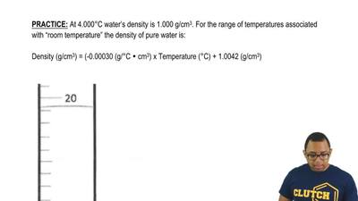 At 4.000°C water's density is 1.000 g/cm 3. For the range of temperatures asso...