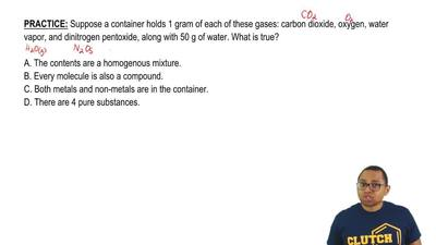 Suppose a container holds 1 gram of each of these gases: carbon dioxide, oxyge...