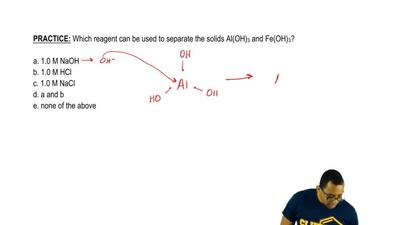 Which reagent can be used to separate the solids Al(OH)3 and Fe(OH)3?  a. 1.0...