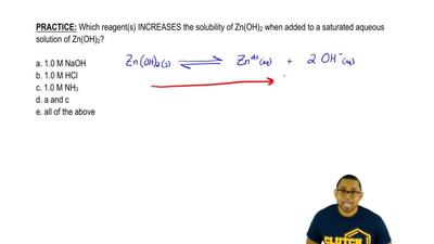 Which reagent(s) INCREASES the solubility of Zn(OH)2 when added to a saturate...
