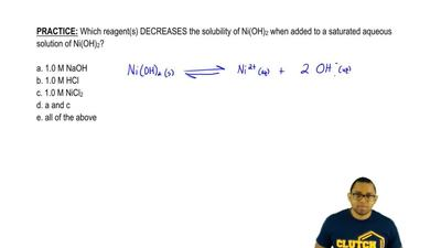 Which reagent(s) DECREASES the solubility of Ni(OH)2 when added to a saturate...