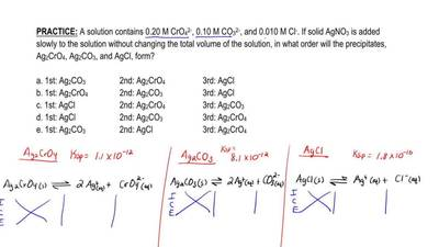 A solution contains 0.20 M CrO 4 2- , 0.10 M CO 3 2- , and 0.010 M Cl - . If s...