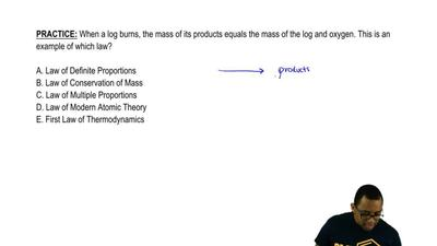 When a log burns, the mass of its products equals the mass of the log and oxyg...