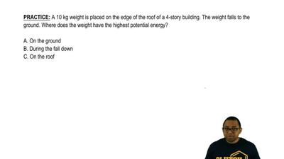 A 10 kg weight is placed on the edge of the roof of a 4-story building. The we...