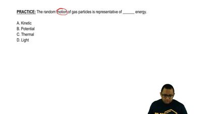 The random motion of gas particles is representative of ______ energy.  A. Kin...