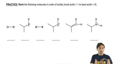 Rank the following molecules in order of acidity from most acid to least acidi...