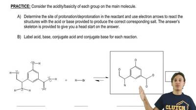 Consider the acidity/basicity of each group on the main molecule.  ...
