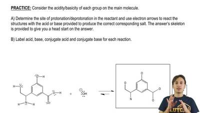 Consider the acidity/basicity of each group on the main molecule.  A) Determin...