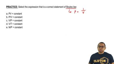 Select the expression that is a correct statement of Boyles law  a. PV = const...