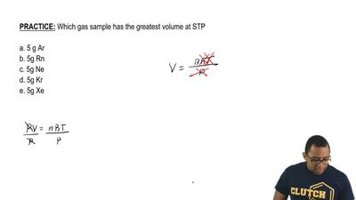 Which gas sample has the greatest volume at STP?  a. 5g Ar  b. 5g Rn  c. 5g Ne...
