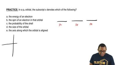 In a p x orbital, the subscript x denotes which of the following?  a. the ener...