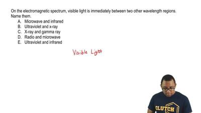 On the electromagnetic spectrum, visible light is immediately between two othe...
