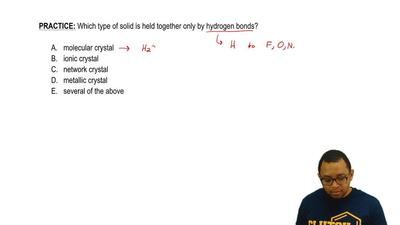 Which type of solid is held together only by hydrogen bonds?  A. molecular cry...