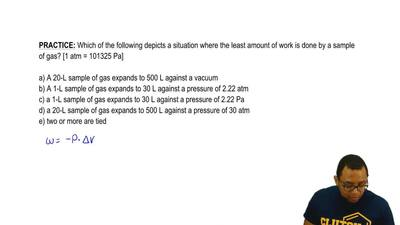 Which of the following depicts a situation where the least amount of work is d...