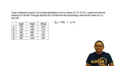 A gas is allowed to expand, at a constant temperature, from a volume of 1.0 L ...