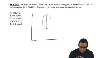 The reaction C4H10 → C2H6 + C2H4 has an activation energy (Ea) of 350 kJ/mol, ...