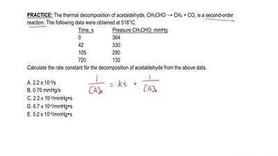 The thermal decomposition of acetaldehyde, CH3CHO → CH4 + CO, is a second-orde...