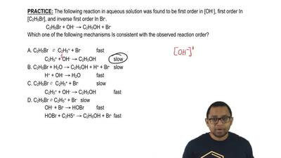 The following reaction in aqueous solution was found to be first order in [OH-...