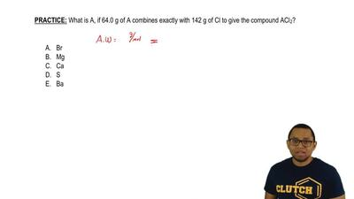 What is A, if 64.0 g of A combines exactly with 142 g of Cl to give the compou...