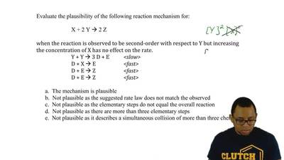 Evaluate the plausibility of the following reaction mechanism for:  X + 2 Y → ...
