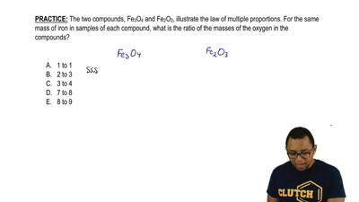 The two compounds, Fe3O4 and Fe2O3, illustrate the law of multiple proportions...