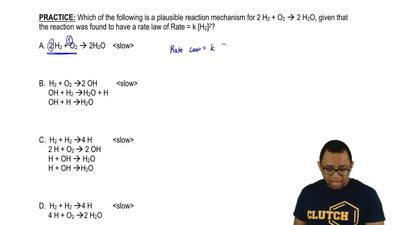 Which of the following is a plausible reaction mechanism for 2 H 2 + O2 → 2 H2...