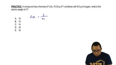 A compound has a formula of Y2O5. If 2.8 g of Y combines with 8.0 g of oxygen,...