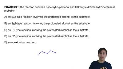 The reaction between 2-methyl-2-pentanol and HBr to yield 2-methyl-2-pentene i...