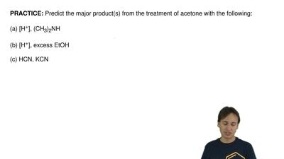 Predict the major product(s) from the treatment of acetone with the following:...
