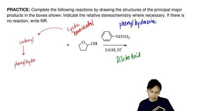 Complete the following reactions by drawing the structures of the principal ma...