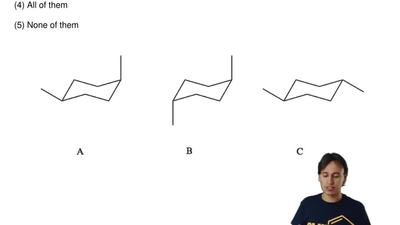 Which pair of structures below are interconvertible by ring-flips?  (1) A and ...