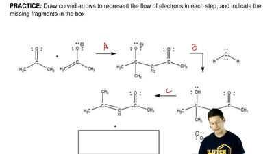 Draw curved arrows to represent the flow of electrons in each step, and indica...