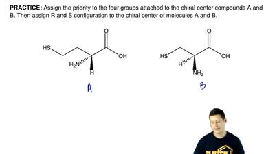 Assign the priority to the four groups attached to the chiral center compounds...