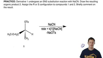 The derivative shown undergoes an SN2 substitution reaction with NaCN. Draw th...