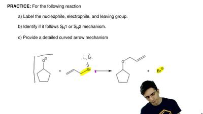 For the following reaction  a) Label the nucleophile, electrophile, and leavin...