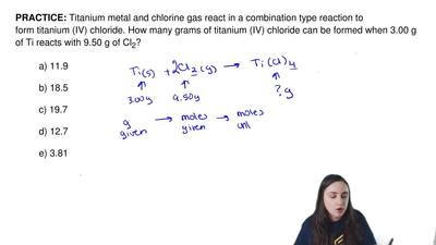 Titanium metal and chlorine gas react in a combination type reaction to form t...