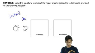 Draw the structural formula of the major organic product(s) in the boxes provi...
