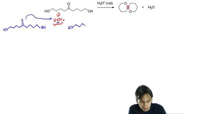 Suggest a reasonable mechanism for the following spirocyclic acetal formation....