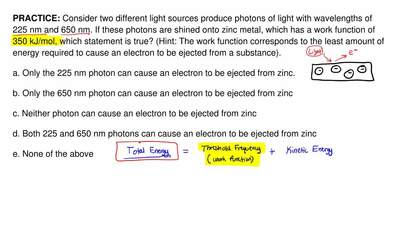 Consider two different light sources produce photons of light with wavelengths...