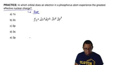 In which orbital does an electron in a phosphorus atom experience the greatest...