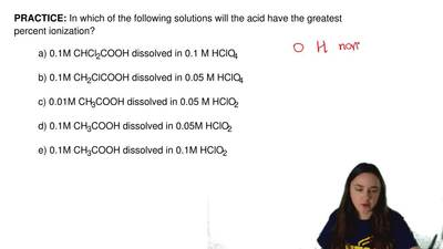 In which of the following solutions will the acid have the greatest percent io...