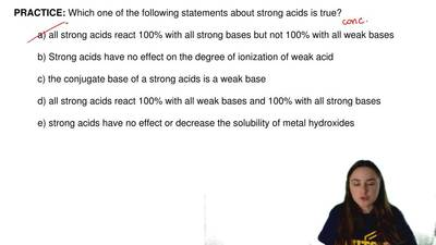 Which one of the following statements about strong acids is true?  a) all stro...