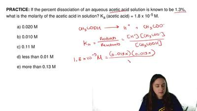 If the percent dissociation of an aqueous acetic acid solution is known to be ...
