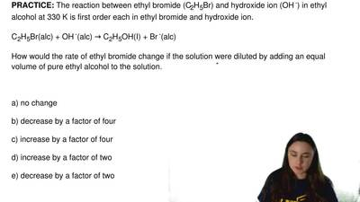The reaction between ethyl bromide (C2H5Br) and hydroxide ion (OH -) in ethyl ...