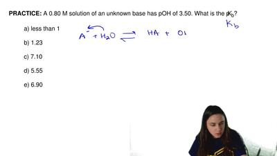 A 0.80 M solution of an unknown base has pOH of 3.50. What is the pKb?  a) le...