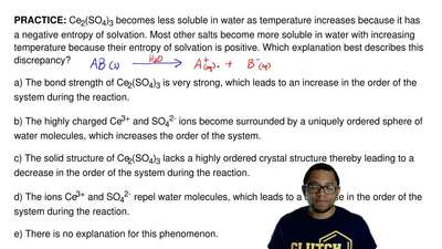 Ce2(SO4)3 becomes less soluble in water as temperature increases because it ha...